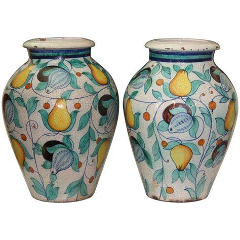 vaso deruta large pair vintage italian pottery faience majolica vases