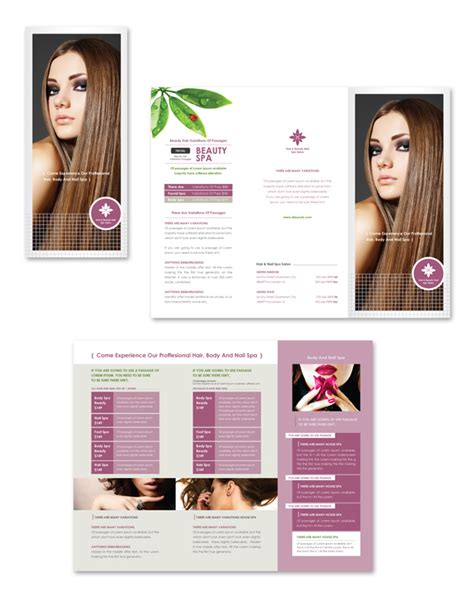 hair nail spa salon tri fold brochure template