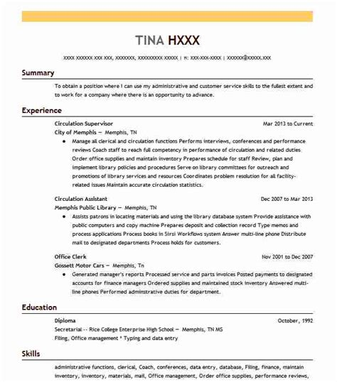 Circulation Supervisor Cover Letter by Library Page Resume Resume Ideas