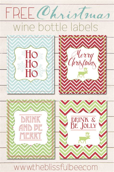 printable christmas wine labels free christmas wine bottle labels the blissful bee