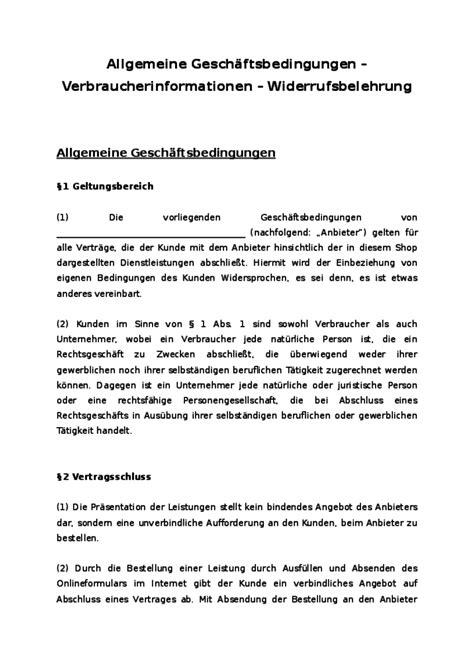 Angebot Dienstleistungen Vorlage Agb Shop F 252 R Diensctleistungen B2c Muster Zum