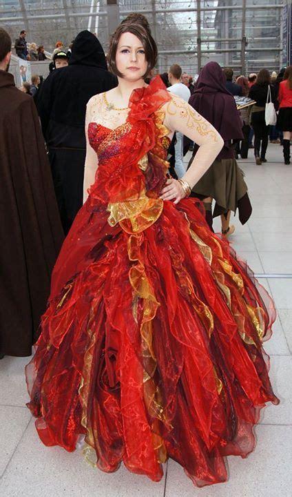 custom  katniss everdeen girl  fire hunger games red