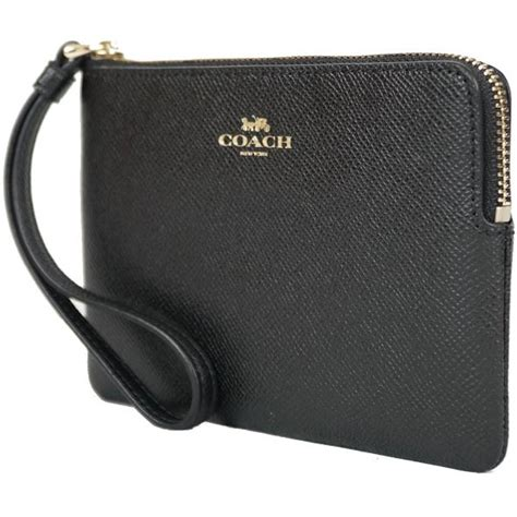 spreesuki coach corner zip wristlet in crossgrain leather black f58032