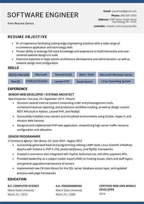 software engineer resume exle writing tips resume