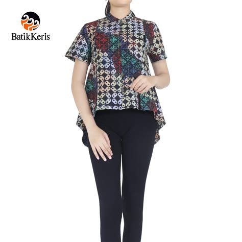 Kawung Blouse by Blouse Lengan Pendek Motif Kawung Gradasi Batik Keris