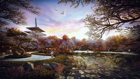 making  zen garden  architectural visualization
