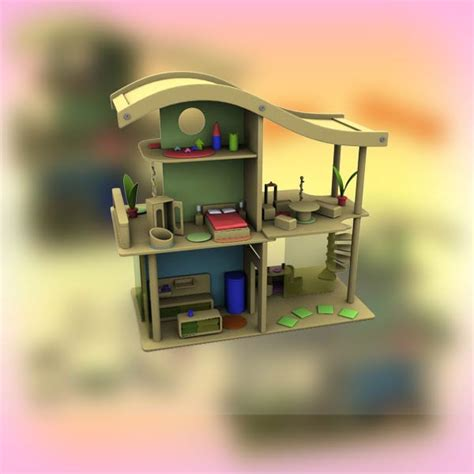 doll house setting doll house set 02 3d model hum3d