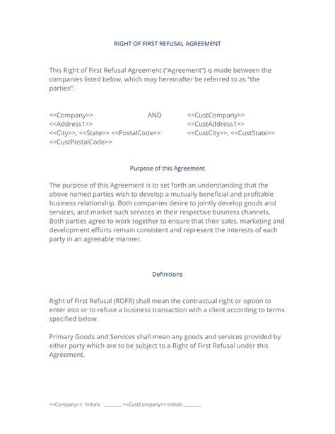 Right Of First Refusal Partnership Agreement Right Of Refusal Contract Template