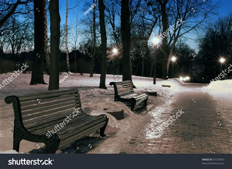 burning benches deserted park evening benches burning lanterns stock photo