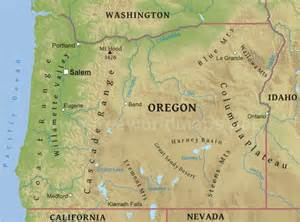 oregon map mountains physical map of oregon