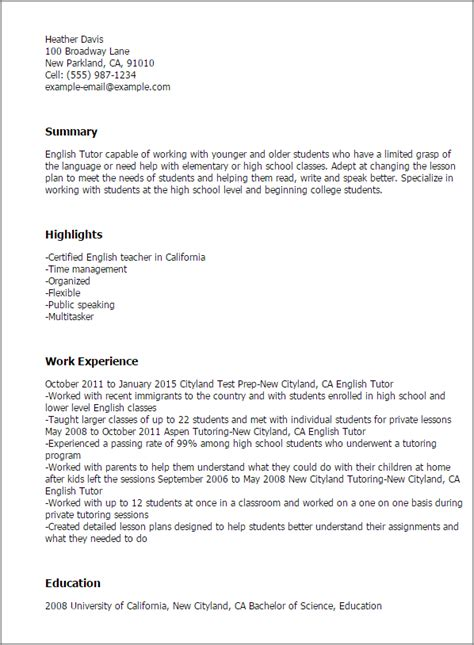 templates resume in english professional english tutor templates to showcase your