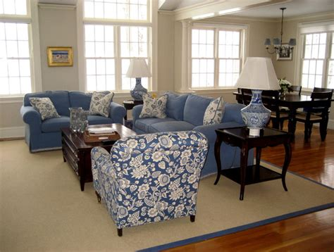 white family room blue and white family room