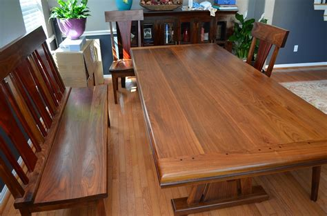 woodworking show ta walnut and paduak dining table bench and chairs
