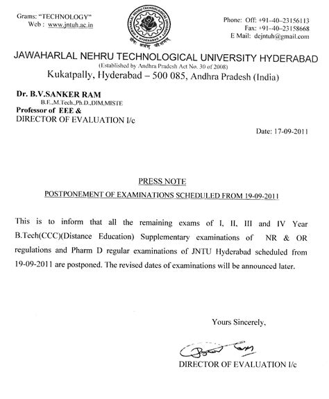 Manabadi Jntu Hyderabad Mba Results 2014 by Jntu Hyd Postponement Of B Teh Ccc And Iii Pharm D Exams