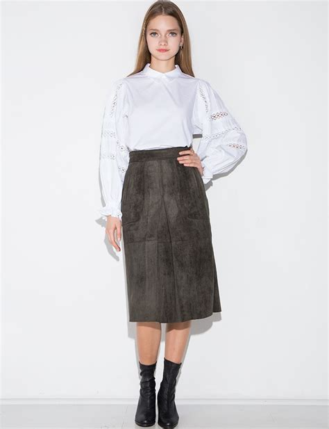 pixie market olive suede kick pleat midi skirt in green