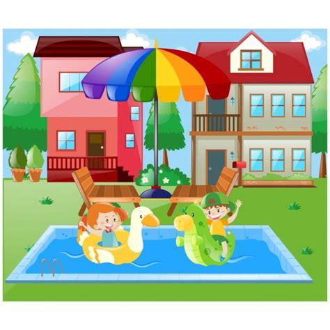 dibujos niños jugando en la piscina chica con paraguas fotos y vectores gratis