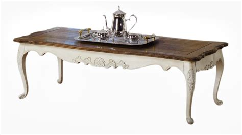 Tea Table by Provincial Furniture Coffee Tea Table In White Distress With Oak