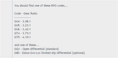 gm rpo codes master list autos post