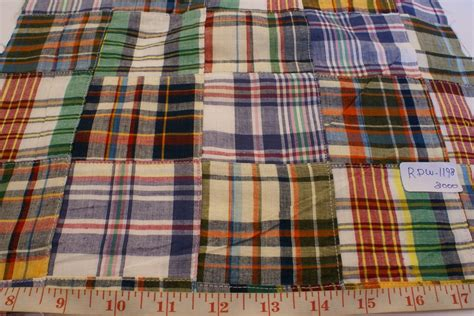 Madras Patchwork Fabric - patchwork madras fabric plaid fabric linen fabric