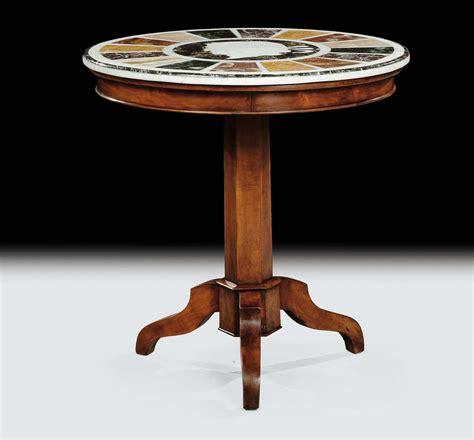 tavolo gamba centrale tavolo circolare a gamba centrale con piano intarsiato in