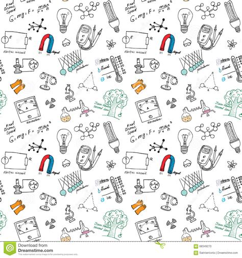 free doodle powerpoint template physics and sciense seamless pattern with sketch elements