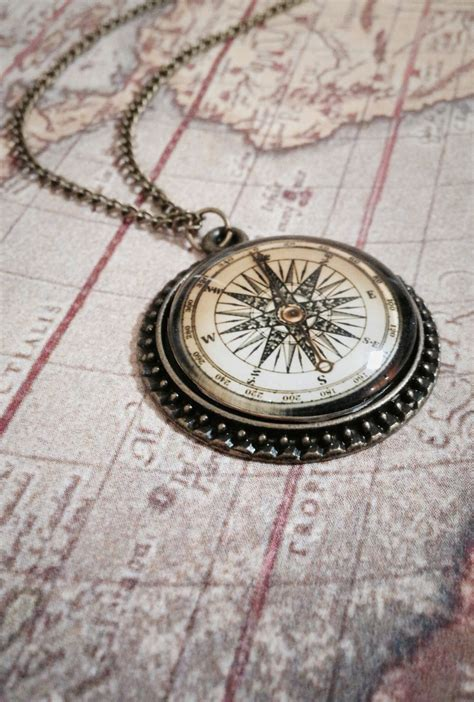Compass Necklace necklace guiding glass dome compass pendant