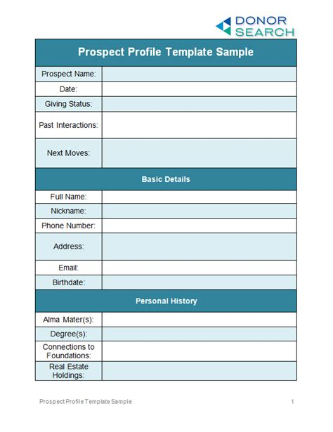 prospect list template your prospect profile templates free exles