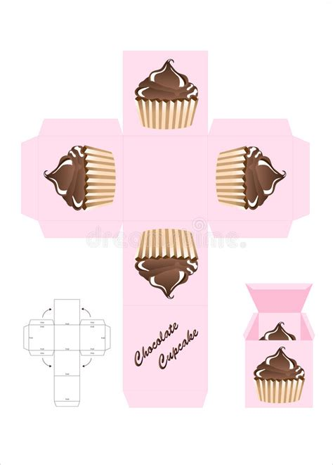 cupcake gift card holder template chocolate cupcake gift box stock vector illustration of