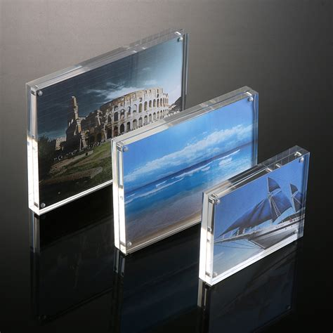 simple style clear ultra thick acrylic magnet photo