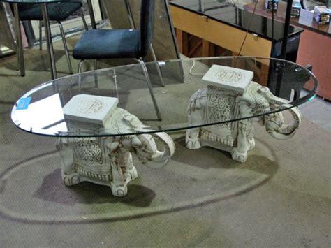 elephant table glass top ceramic elephant pedastol glass top coffee table