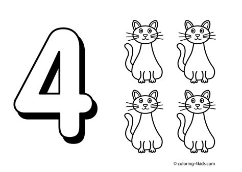 number four coloring sheets coloring pages