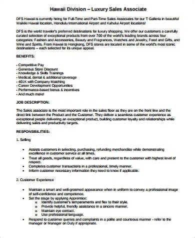 sle retail sales associate description 6 exles in word pdf