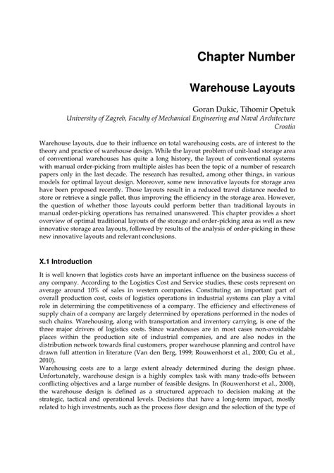 warehouse layout theory warehouse layouts pdf download available