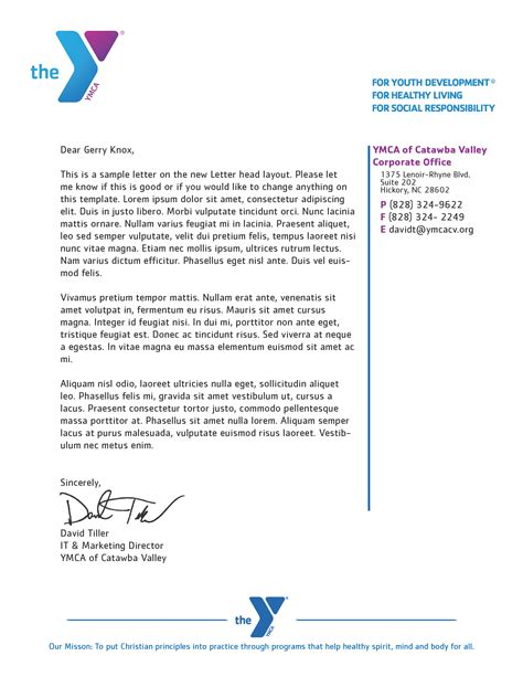 Ymca Cancellation Letter Sle Ymca Letterhead David Z Tiller