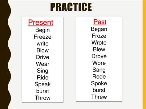 past tende irregular past tense verbs powerpoint slides