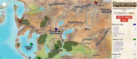 pathfinder golarion map maps mania the pathfinder world on maps