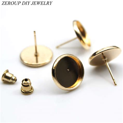 equipment for jewelry zeroup 12mm stud earring gold plated glass cabochon