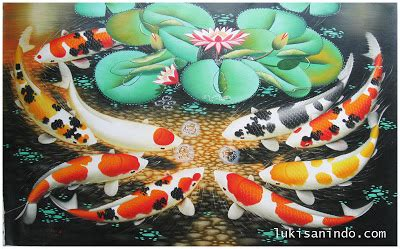Lukisan Ikan Koi Fengshui Tanpa Bingkai iklanmurah