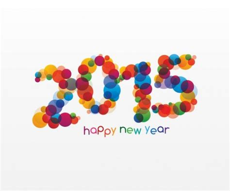 happy new year 2015 colorful circles design vector free