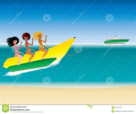 speed boat surfing banana boat stock images image 37491794