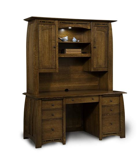 Desk Hutch With Doors Boulder Creek Seven Drawer Desk From Dutchcrafters Amish Furniture