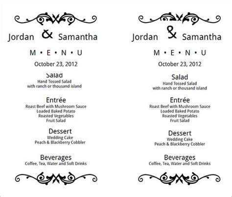wedding menu template word wedding menu template 24 in pdf psd word