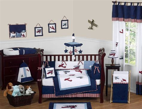 Unique Discount Red Blue White Vintage Airplane Planes Unique Baby Boy Crib Sets