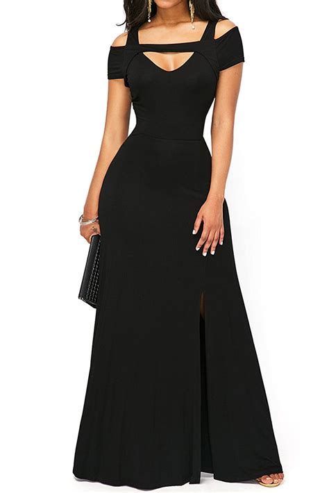 us 8 51 black cold shoulder front slit flare maxi dress