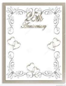 silver wedding anniversary invitations templates free 25th wedding anniversary invitations free templates