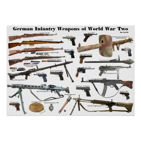german weapons german military weapons of ww1 ww2 german infantry weapons of ww2 posters zazzle