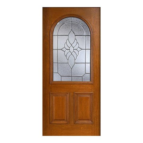 Solid Wood Front Doors With Glass Door 36 In X 80 In Mahogany Type Prefinished Cherry Beveled Patina Roundtop Glass Solid