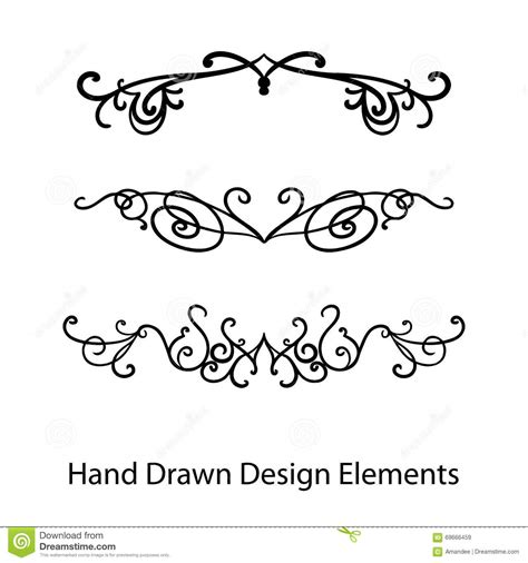 design elements in writing design elements vector hand drawn fancy ornate text or