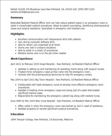 Emergency Medicine Resume resident officer resume template best design