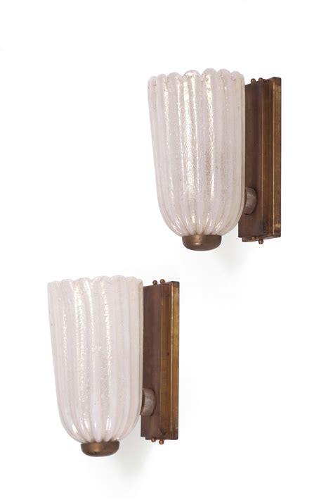 applique vetro murano coppia di appliques in vetro di murano e ottone design